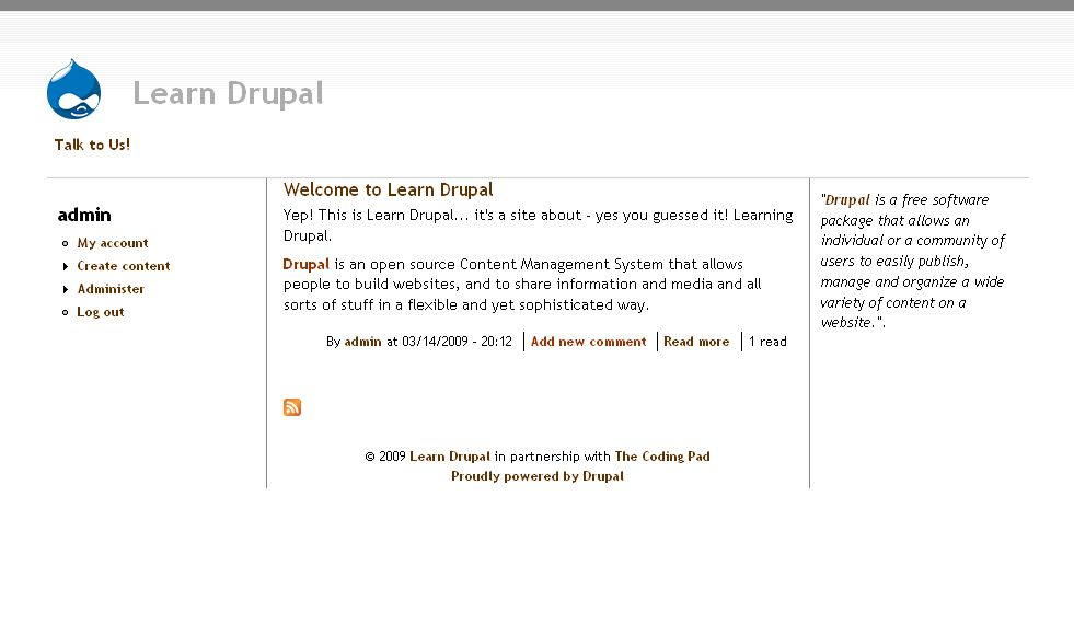how to change footer in drupal