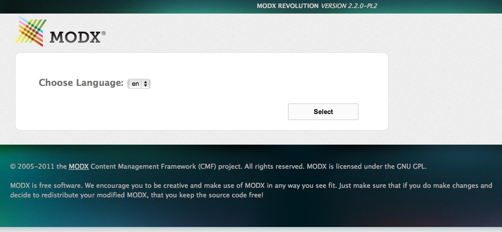 Install MODX Revolution - choose language