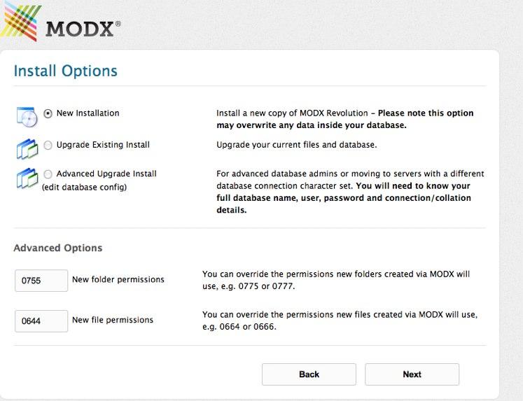 Install MODX Revolution - installation types