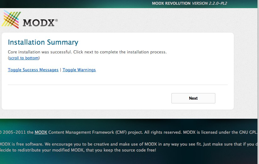 Install MODX Revolution - installation successfull