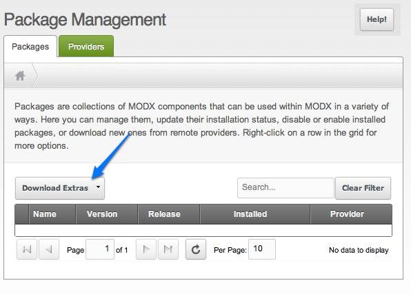 Configure MODX Revolution - install extras