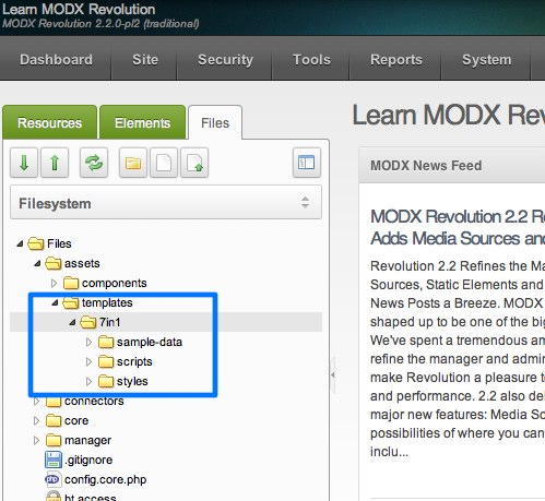MODX Revolution templates files