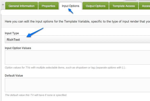 MODX Revolution template variables input type