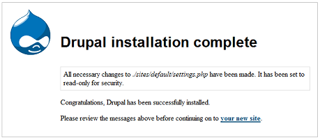 Drupal Install Complete