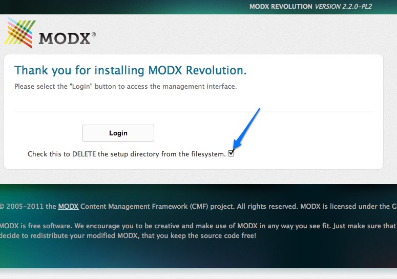 Install MODX Revolution - finish setup
