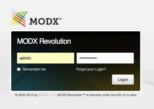 Install MODX Revolution - login screen