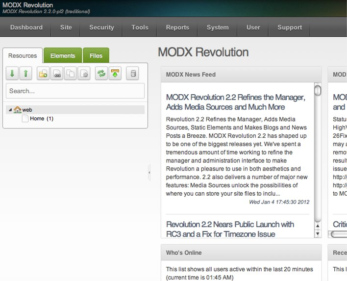 MODX Revolution backend manager