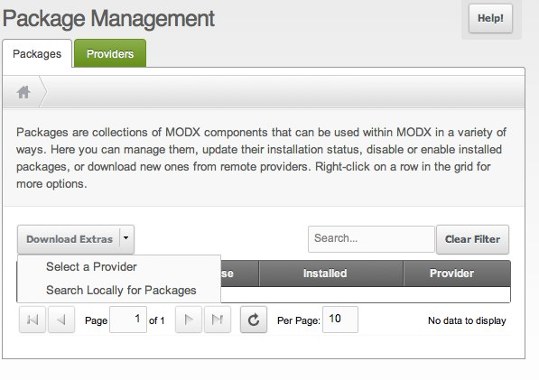 Configure MODX Revolution - installing extras