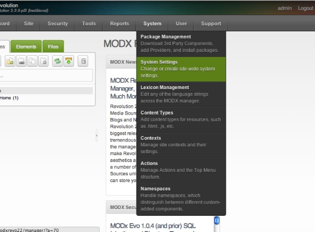 Configure MODX Revolution - system settings