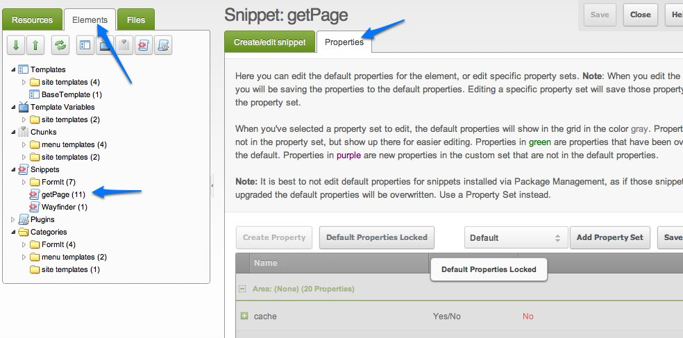 MODX Revolution getPage properties